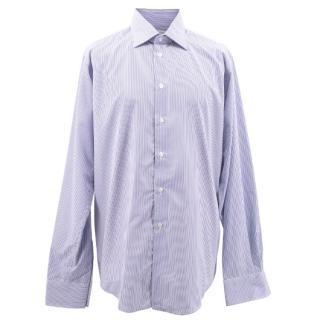 Richard James Savile Row Men's Blue & White Striped Shirt