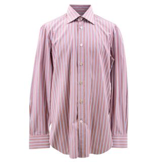 Kiton Red and Blue Striped Shirt