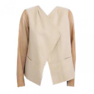 Vince Leather Combo Draped Jacket