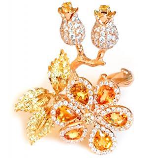 Bespoke Amazing Citrine & Diamond Flower Ring 18ct Gold