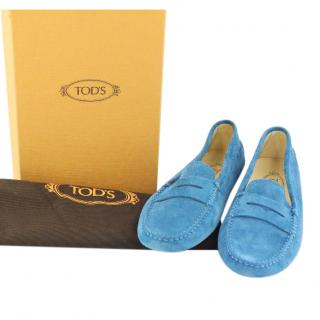 Tod's Light Blue Suede Penny Driving Loafers