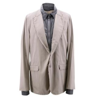 Dolce & Gabbana Men's Grey and Beige Denim Effect Jacket