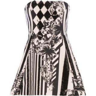 Balmain Strapless Graphic Print Dress