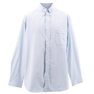 Yohji Yamamoto Blue and White Pinstripe Shirt