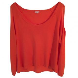 P.A.R.O.S.H. orange cold shoulder long sleeve top