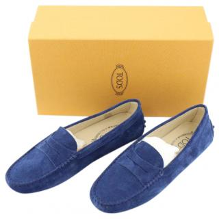 TOD'S Blue Suede Penny Driving Loafers, UK 6.5