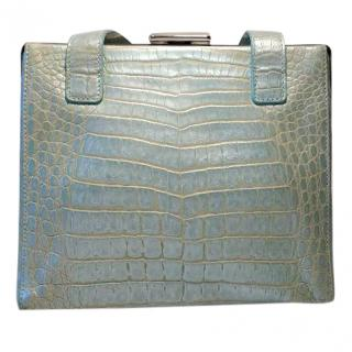 Escada Vintage Pearly Blue Mock Croc Bag