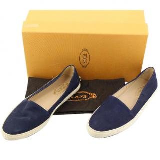 TOD'S Blue Suede Flats