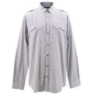 Dolce & Gabbana Men's Grey & White Striped Shirt