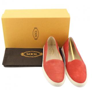 Tod's Red Suede Slip-On Sneakers