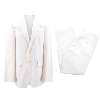 Ann Demeulemeester White Textured Suit