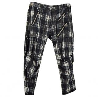 Balmain Black & White Check Trousers