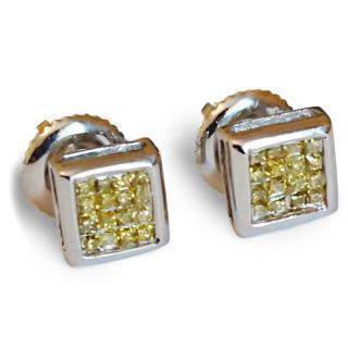 Yellow diamond earrings 14ct gold pave princess