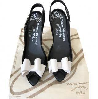 Vivienne Westwood Black Heels With White Bow