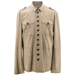 John Varvatos Men's Taupe Suede Shirt