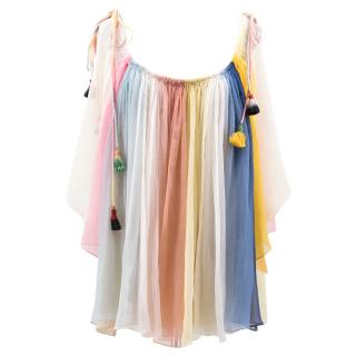 Chloe Rainbow Silk Cold Shoulder Blouse
