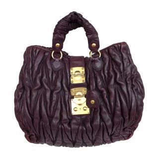 MIU MIU by Prada Burgundy Leather Matelasse Tote Bag
