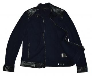 Belstaff Dark Blue Full Zip Cotton Leather Trim Jacket Made in Italy