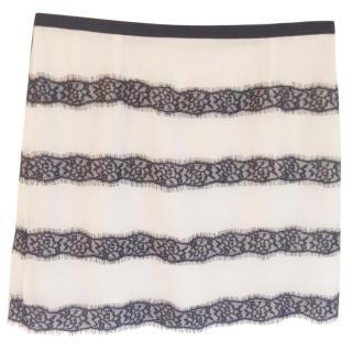 By Malene Birger lace striped silk skirt