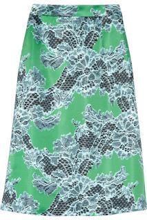Jonathan Saunders Green Clarissa Lace Print Satin Skirt