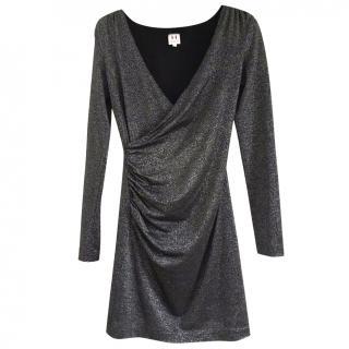 Halston Heritage Black Metallic Ruched Dress