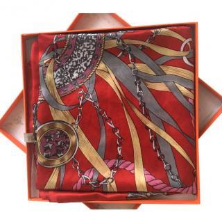Hermes equestrian silk scarf