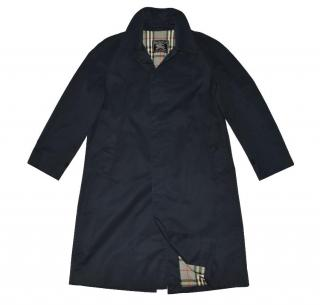 Burberry Dark Blue Cotton Trenchcoat with Check