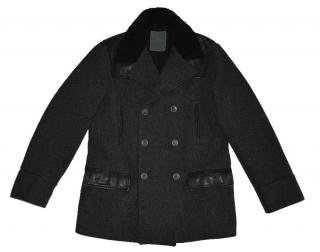 Calvin Klein Gray Wool Cotton Real Leather Double Breasted Coat