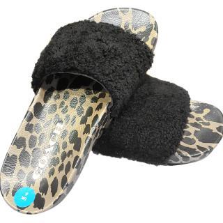 Coach fur sliders for women leopard print