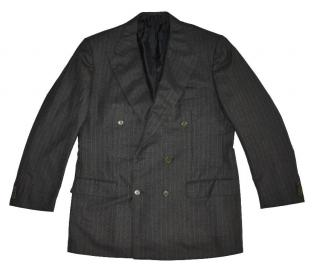 Kiton Gray Wool Striped Double Breasted Blazer Made in Italy