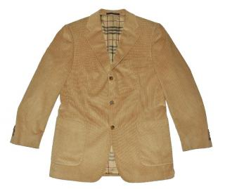 Burberry Brown Cotton Button Jacket with Check