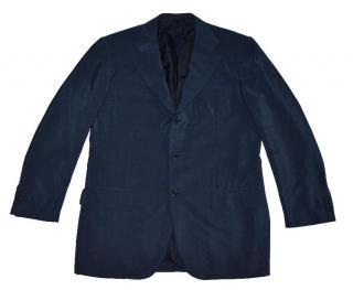 Kiton Dark Blue Wool Mohair Three Button Blazer