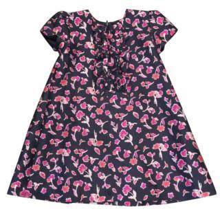 Oscar de la Renta Size 10 Watercolor Poppies Dress Navy Blue