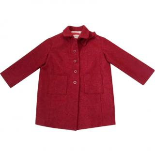 Simonetta Age 7 Red Wool Alpaca Coat with Bow at Collar