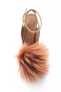 Sonia Rykiel Fox Fur Pom Pom Velvet Sandals