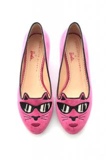Charlotte Olympia Barbie Collection Pretty in Pink Kitty Flats