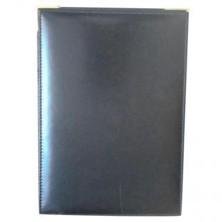 Asprey Desk Top Black Leather Gold Hinged Note Pad Holder