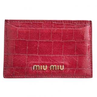 Miu Miu Red Croc Effect Card Holder