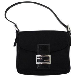 Fendi Vintage Black Canvas Shoulder Bag