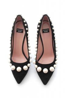Boutique Moschino Pearl-Embellished Suede Pumps