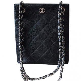 Chanel Vintage Black Quilted Caviar Shoulder Bag
