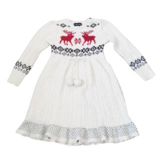 Ralph Lauren Size 6 Knit Reindeer Pom Pom Dress Ivory Red Blue