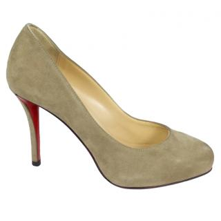 Christian Louboutin grey suede pumps