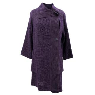 Heart Haat Purple Textured Knit Double Breasted Coat