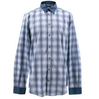 Dolce & Gabbana Gold Men's Blue Check Shirt