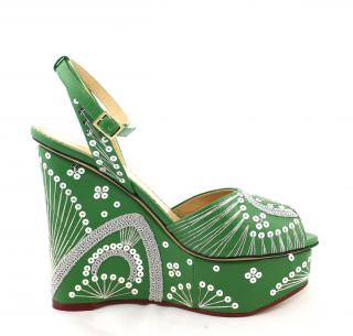 Charlotte Olympia Green Embellished-Wedge Sandal, UK 5.5
