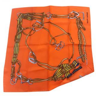 Ralph Lauren Orange Pattern Silk Scarf