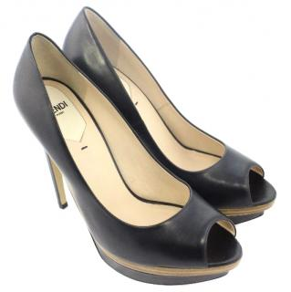 Fendi Peep-Toe Black Heels