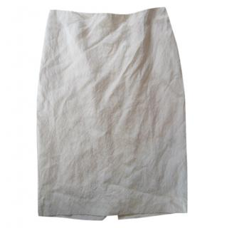 Marni Textured White Linen Skirt