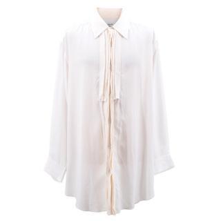 Yohji Yamamoto Men's Cream Ruffle Detail Shirt